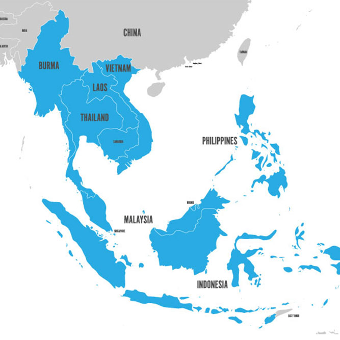 Map of Southeast Asia, Kratom Regions