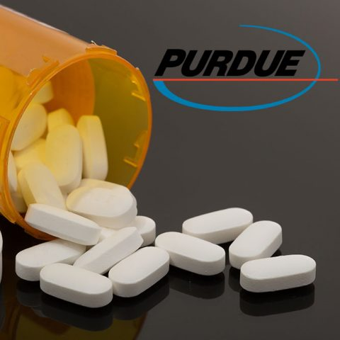 Container spilling out opioid pills with purdue logo
