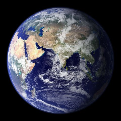 An image from space of the planet Earth, with India in the center of focus.