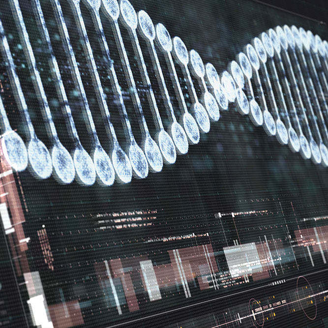 Futuristic holographic DNA being analyzed