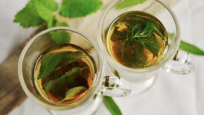 Two glasses of herbal tea