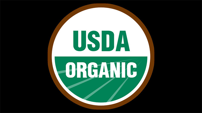 The USDA Organic logo, in green and white text inside a circle.