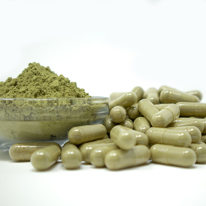 A glass bowl filled with green Bali kratom powder, with a pile of loose capsules to the right of the bowl.